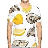 メンズ Tシャツ 半袖 創意デザイン おしゃれ おもしろ 3D 牡蠣と蜜柑 プリント U系 カジュアル トップス ファション夏 大きなサイズ