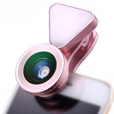 【 Amazonランキング スマホ用カメラレンズ部門第1位獲得 】Excellence スマホ用カメラレンズ 1台3役 LEDライト フラッシュ 自撮り 3段階の明るさ調整 クリップ式 ワイドレンズ マクロレンズ iphone7 iphone7plus xperia(ピンク)