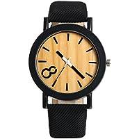 Lancardo メンズ 腕時計 レザー バンド ウォッチ 木製文字盤 数字表示 クォーツ 腕時計 ブラック カジュアル メンズ ファッション アクセサリー