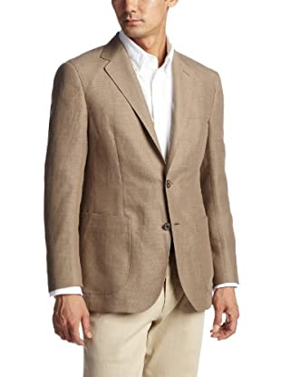 Linen Wool Polyester 2-button Patch Pocket Jacket 3122-110-0362: Beige