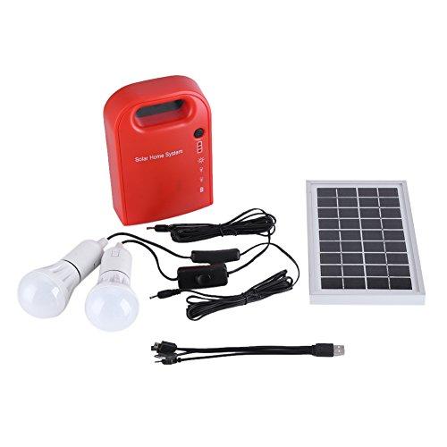 ソーラー発電機 ソーラーパネル USB電球2個付属 フルセッ...