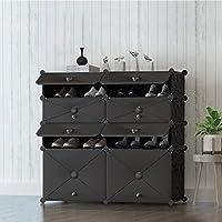 SLH 家庭用スペースの多機能防塵プラスチック大容量靴ラックキャビネット多層靴棚 (Color : Black)