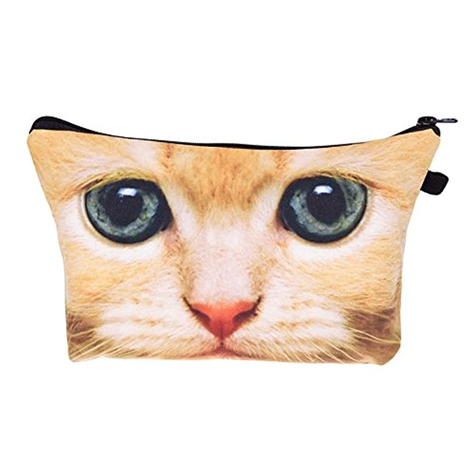 人工的な動機付ける脇に化粧バッグ 化粧ポーチ 収納ケース メイクバッグ 化粧収納バッグ 折畳式 携帯型便利 容量大きいかわいいお洒落 旅行軽量 猫柄 (ブラウン)