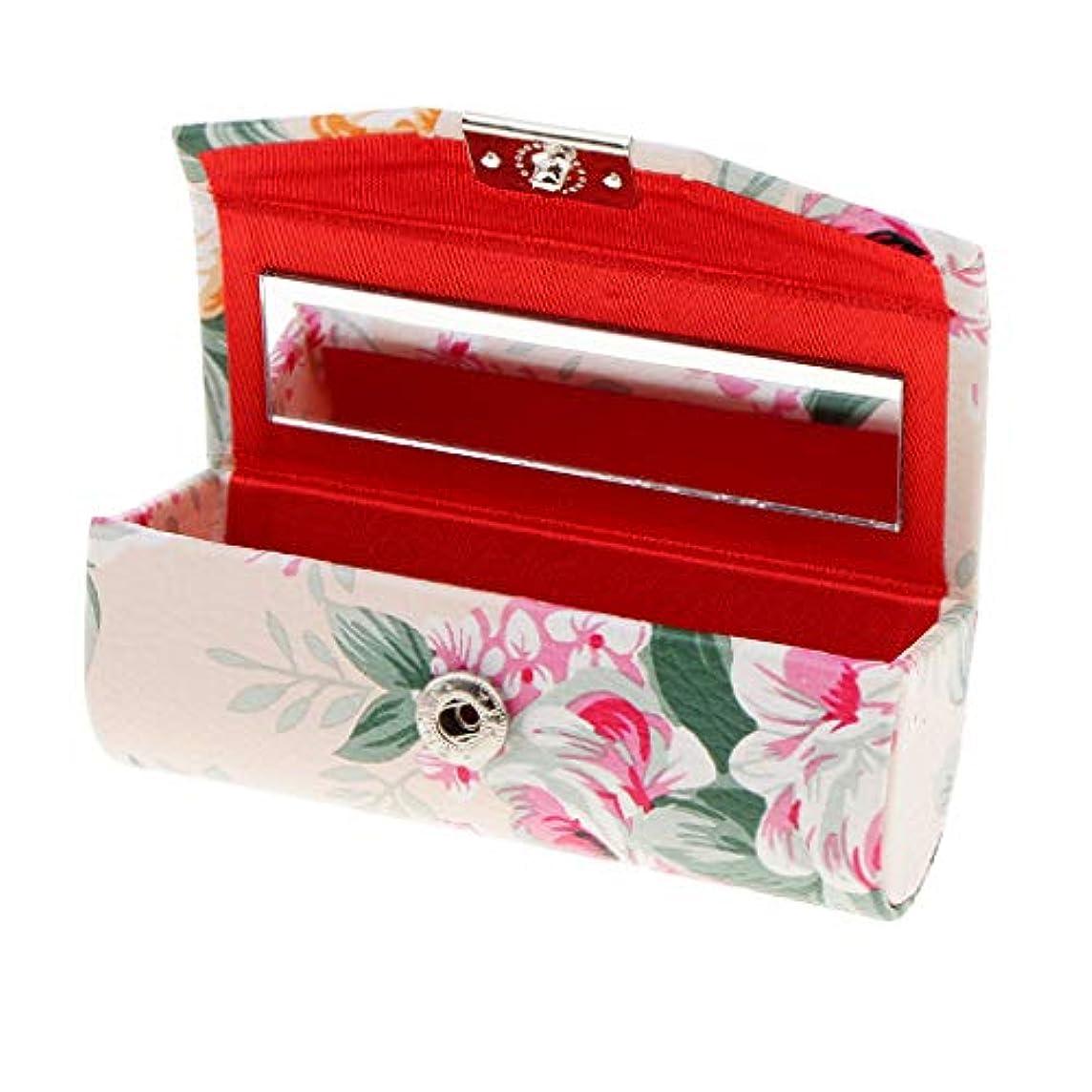 ピクニックをするわずらわしい貸し手KESOTO リップスティックケース ミラー付き 革製 宝石 メイクアップ 口紅 メイクアップ 収納ホルダー  5色選べ - ベージュ