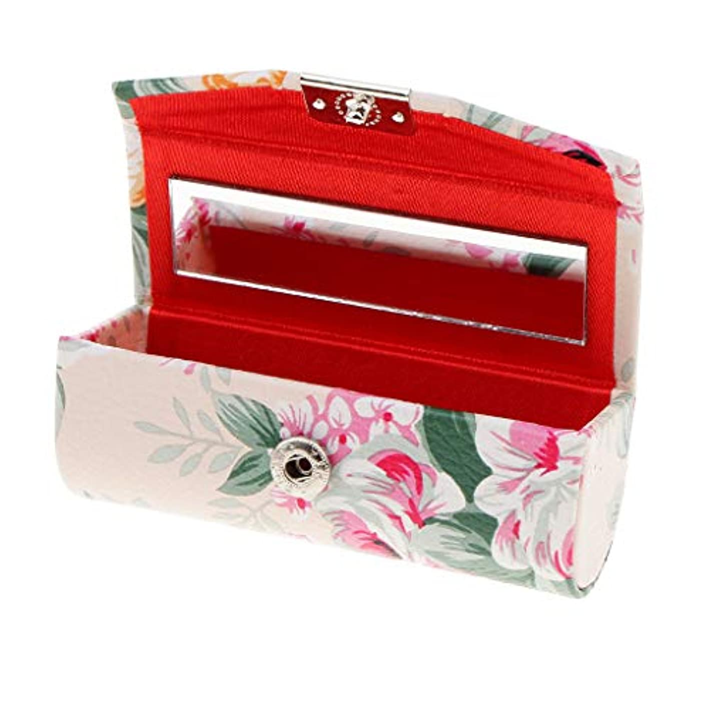銛倫理的ファーザーファージュKESOTO リップスティックケース ミラー付き 革製 宝石 メイクアップ 口紅 メイクアップ 収納ホルダー  5色選べ - ベージュ