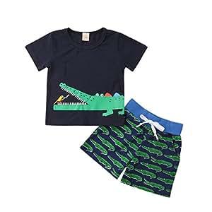 クロコダイルパターン Tシャツ 上下2セット 男の子 ラウンドネック 半袖 トップ バードプリント レジャー 動物プリント ビーチショーツ 子供服 70 80 90 100 0〜24ヶ月 (18-24ヶ月, ネイビーブルー)