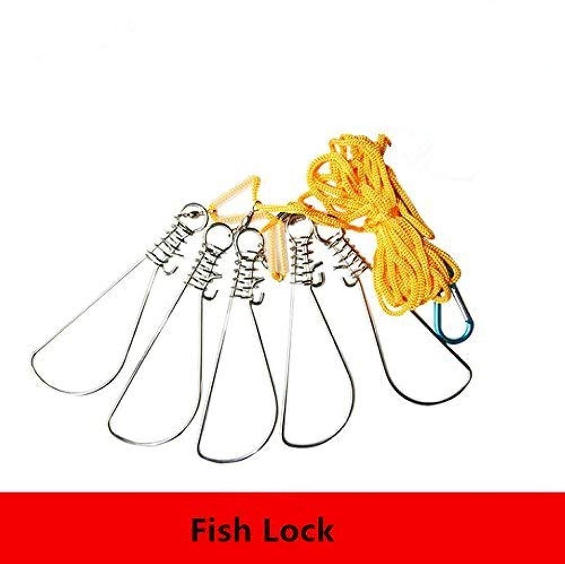 Fishcm 5 Snaps Nylon Live Fish Lock Fishing Stringer Steel Lanyard Large Fish Lock