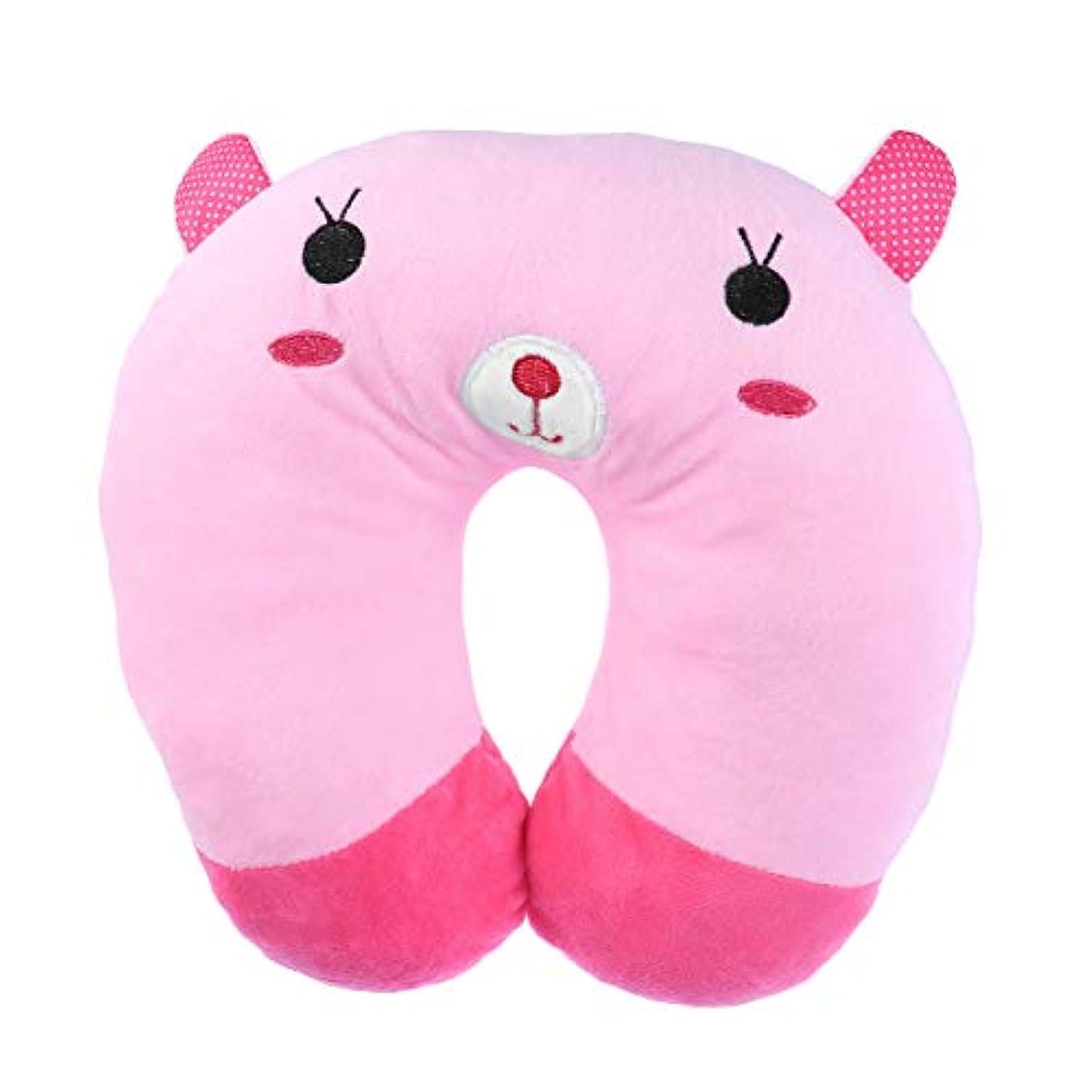 HEALIFTY 首牽引枕漫画ぬいぐるみU字型枕首サポートクッション旅行枕飛行機のために車(ピンクのウサギ)