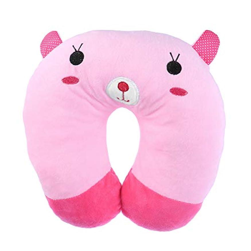 一緒にいつかさわやかHEALIFTY 首牽引枕漫画ぬいぐるみU字型枕首サポートクッション旅行枕飛行機のために車(ピンクのウサギ)