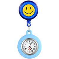 Women Girl's Nurse Watches Clip-on Hanging Lapel Silicone Jelly Fob Pocket Watch Cute Cartoon Smile Round Face Arabic Markers for Doctor - Blue
