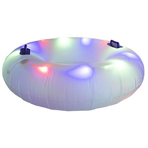 光る 浮き輪 LEDライト 内蔵 110cm 大型 大人用 フロート ナイトプール (LED3色発光)