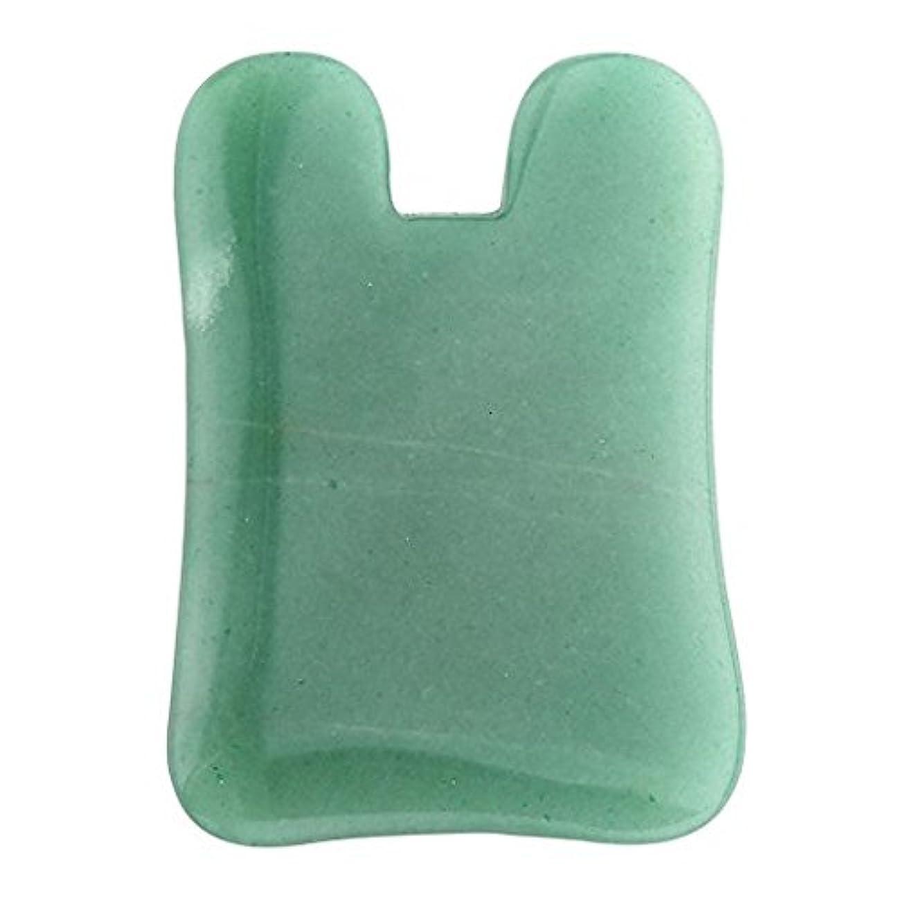 北西骨髄嫌な1pc Face/Body Massage Jade Adventurine Natual stone Gua Sha acupress toolジェイドかっさプレート 翡翠かっさ,顔?ボディのリンパマッサージ (U shape)