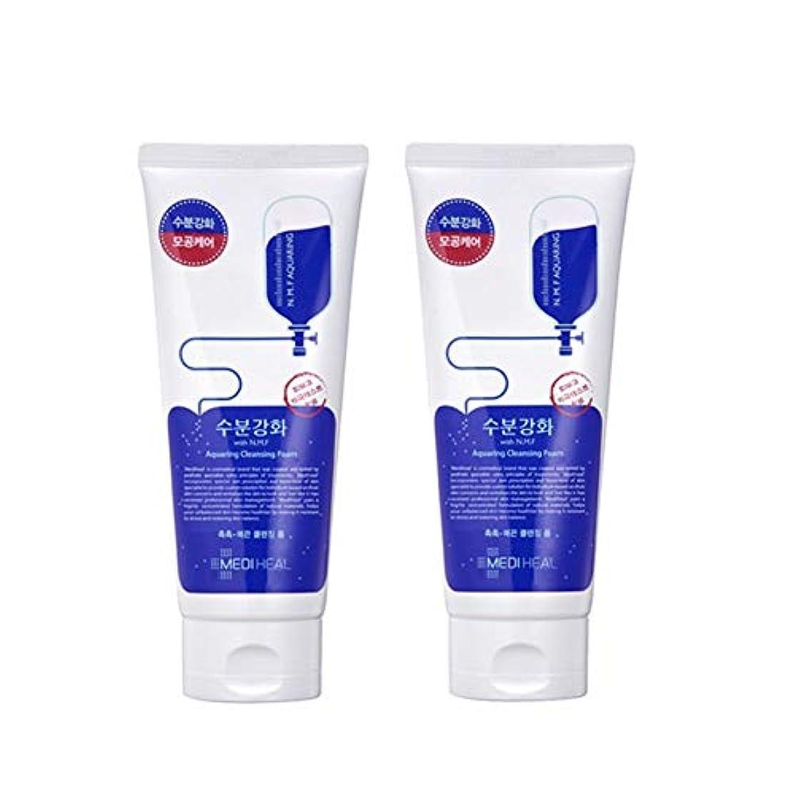 豊かなモルヒネ苦しみメディヒール水分強化クレンジングフォーム170mlx2本セット韓国コスメ、Mediheal Aquaring Cleansing Foam 170ml x 2ea Set Korean Cosmetics [並行輸入品]