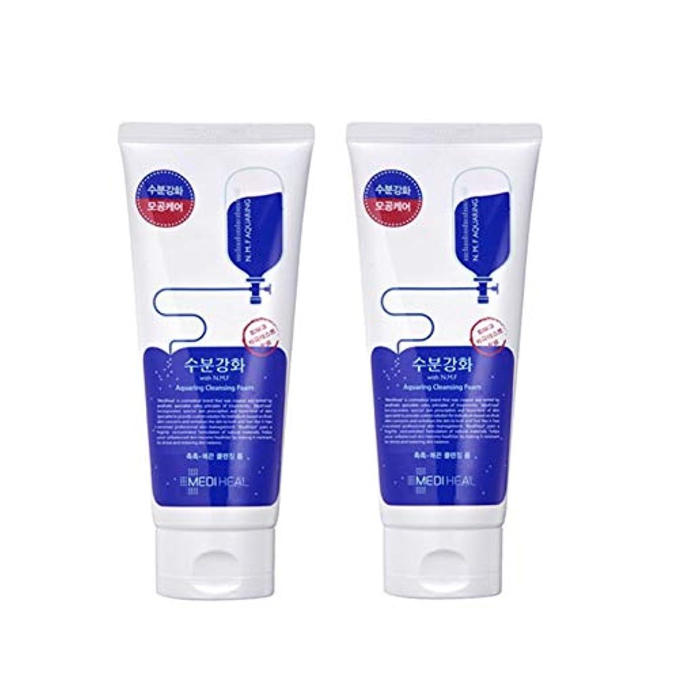 タイヤプレゼンタービリーヤギメディヒール水分強化クレンジングフォーム170mlx2本セット韓国コスメ、Mediheal Aquaring Cleansing Foam 170ml x 2ea Set Korean Cosmetics [並行輸入品]