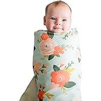 Makaor 新生児 ベビースワドルブランケット 幼児 フローラル 睡眠 スワドル モスリンラップ + ヘッドバンドセット Size: 90cmx90cm/35.4