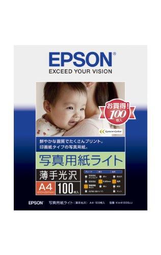 エプソン コピー用紙 写真用紙ライト 薄手光沢 100枚 A4 KA4100SLUの詳細を見る