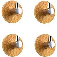 BQTime モダン3M粘着フック ステンレススチール タオルローブ コート 布バッグ キーホルダー ハンガー (2個パック シングルフック) 高耐久 壁掛け 防水 キッチン 浴室 シャワーアクセサリー ブラック BQ019