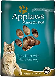 Applaws Tuna Fillet with Whole Anchovy Natural Wet Cat Food in Broth - 70 g pouches, complementary food for ad