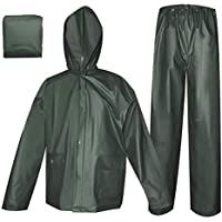 Rain Coat for Women Men Waterproof Jacket with Pants 2Pcs Ultra-Lite Suits EVA Reusable Portable Packable (X-Large, Dark Green)