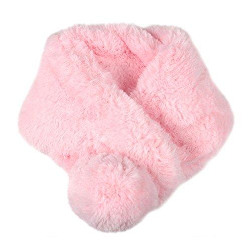 【ノーブランド品】キッズ もこもこポンポン付きネックウォーマー ピンク