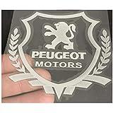Wallner 银フェンダーサイドカースタイルの金属車の窓ステッカーロゴステッカー自動車サイドステッカープジョー (大きい, 銀)