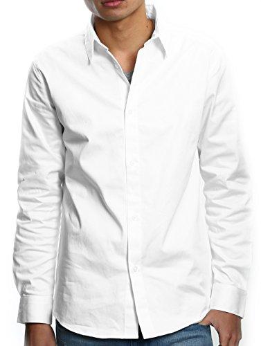 インプローブス シャツ ストレッチシャツ 長袖 yシャツ ドレスシャツ 綿シャツ 無地 シンプル メンズ ホワイト L サイズ