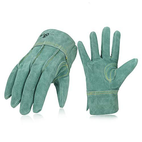Vgo 3双入 牛床革手袋 作業用皮手袋 外缝 オイル加工 (Size L,White,CB9961O-AB)