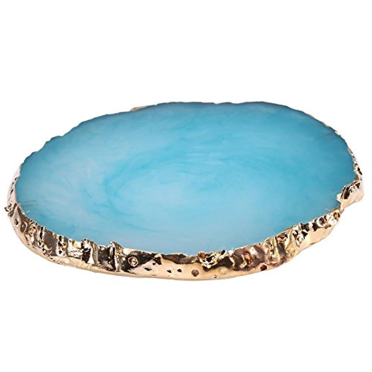 チャーミング人工的な緯度ネイルアート ネイル パレット 天然樹脂ストーンネイル アートプレート ジェルポー ランドホルダードローイングカラー ネイルアートディ(青)