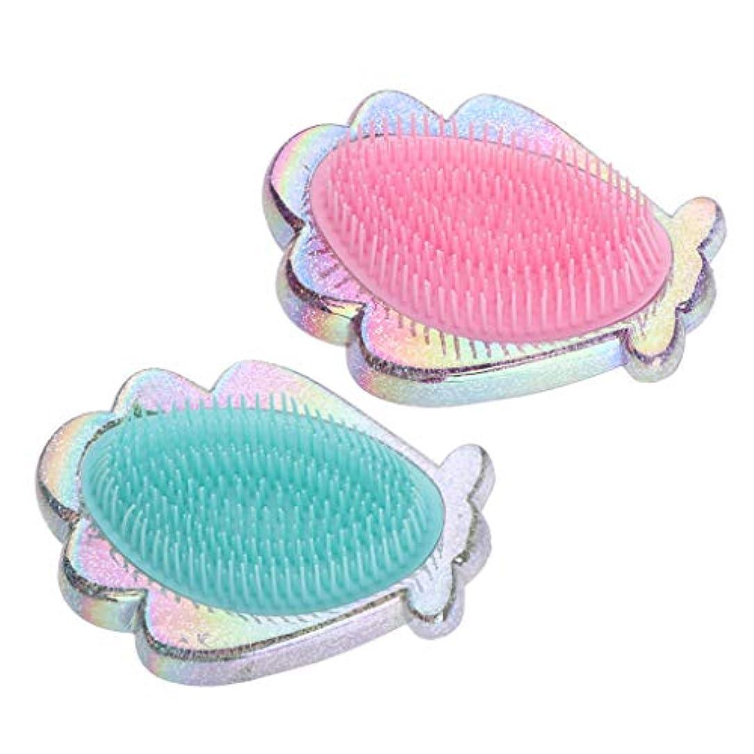 にひまわり納得させるプラスチック製 コーム シェル形 ヘアブラシ ヘアコーム 全2個