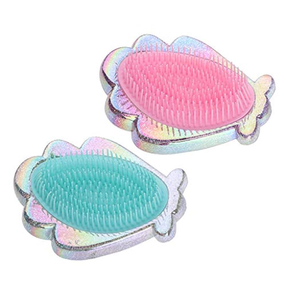ほこり波紋変成器プラスチック製 コーム シェル形 ヘアブラシ ヘアコーム 全2個