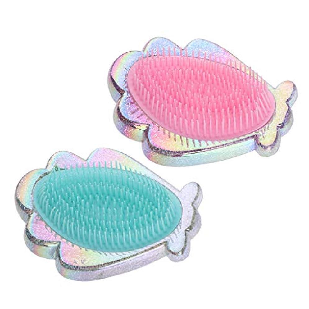 ジャグリング理解するわずかにプラスチック製 コーム シェル形 ヘアブラシ ヘアコーム 全2個