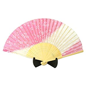 シルク扇子 白桜 ピンク 504-712