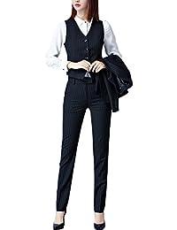 スーツ レディース 3点セットアップ パンツ+ジャケット スカート+ジャケット ベルト付き ビジネス 事務服ストライプ フォーマル
