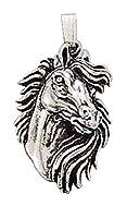 スターリングシルバーBoys 1.2MMボックスチェーンMustang Horse Head動物ペンダントネックレス