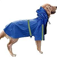 Legendog 犬 レインコート 防水 反射 中型犬 ポンチョ 折り畳み 愛犬 カッパ 着脱簡単 愛犬 雨具 繰り返し洗える ペット 服 耐水性 梅雨対策 レザー 3サイズ選択 (ブルー)