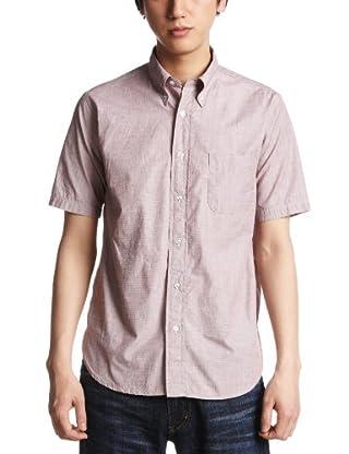 Chambray Short Sleeve Buttondown Shirt 111-52-0033: Red