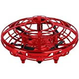 Children's Mini Drone - Hands-Free Hover Drone Portable Pocket Quad Axis 360° Rotating and Shining LED Lights UFO Toys Smart Sensor Airplane Boys Girls and Children's Gifts (Color : Red)
