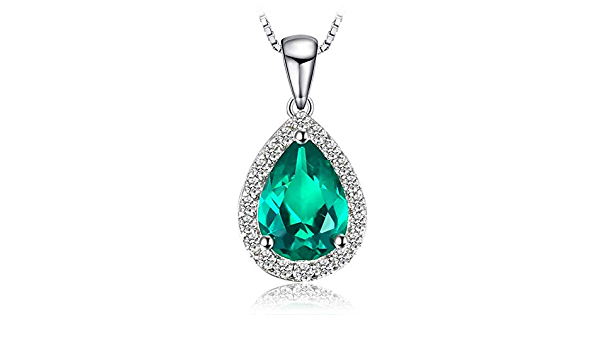 Pendants Necklaces by CS-DB 0.7ct Water Drop Emerald Vintage Genuine Fashion Silver Womens Jewelry