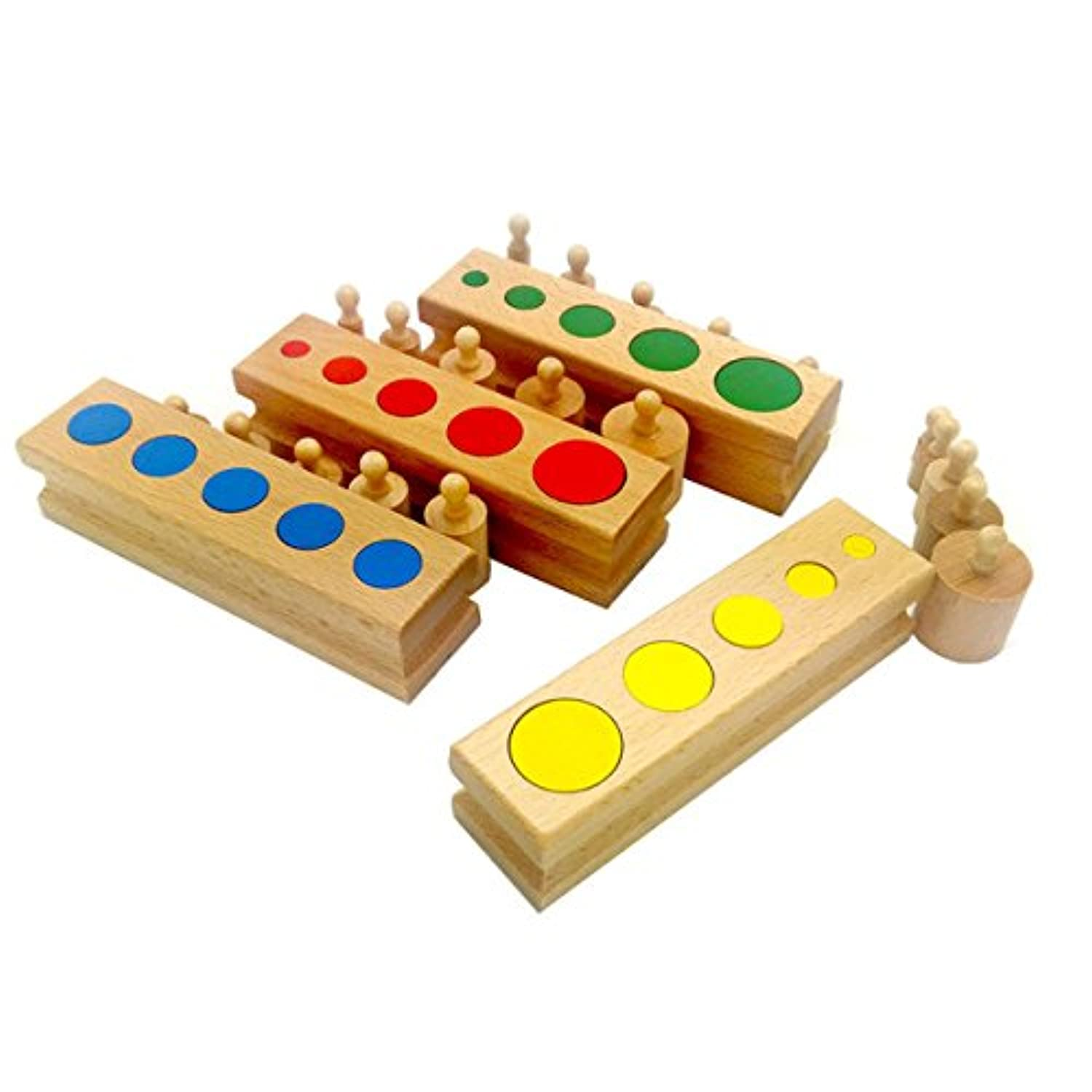 Montessori Knobless Cylinders With Socket Kids Early Development Sensorial Material Colourful Cylinder Ladder Blocks