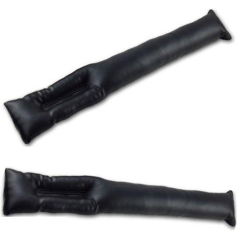 車内 隙間 落下防止 シート サイド ピロー クッション 本革 レザー 仕様 2本セット (ブラック)
