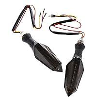F Fityle オートバイ用 LEDターンシグナルライト インジケーター 方向指示灯 1ペア 低消費電力 全3色 - 赤