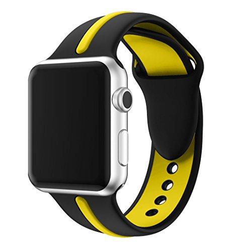 Kartice Apple Watch Nike +/Apple Watch/Apple Watch Series 2/Apple Watch Series 3 バンド ソフトシリコンバンド スポーツバンド シリコンアダプター付き (38mm, 黒+黄1)