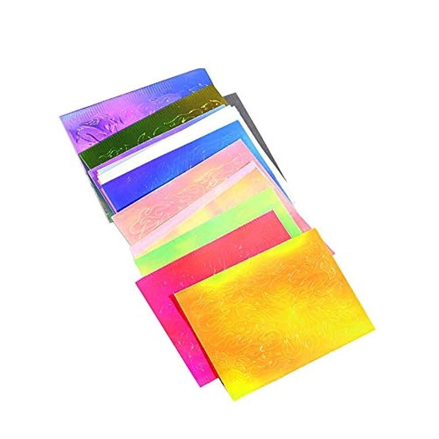 マラウイ食料品店コート16色の3Dネイル作成ネイル接着剤装飾ステッカーファントム炎のネイルアートステッカー16個の光沢のあるネイルチップの多機能テープ付き
