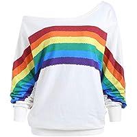 fanmeili-AU Womens Casual Long Sleeve Velvet Loose Rainbow Print Pullover Sweatshirt