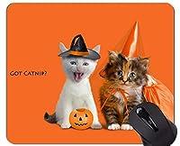 ステッチ付きマウスパッド、ジャックランタン子猫ハロウィンパンプキンフェスティバル滑り止めラバーベースマウスパッド