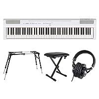 YAMAHA P-125WH ホワイト 電子ピアノ スタンド ベンチ ヘッドホン 4点セット [鍵盤 Fset]