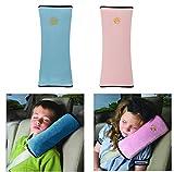 シートベルトカバー シートベルト枕 2個セット キッズ シートベルト 枕 カバー 子供 旅行用品 頚部保護 (ブルー、ピンク)