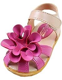 WIN ベビー おしゃれ 靴 フラワー モチーフ サンダル 夏 赤ちゃん キッズ 履き心地 柔らか マジックテープ ストラップ 滑り止め 付き 可愛い 花 女の子 シューズ (18cm, バラ色)