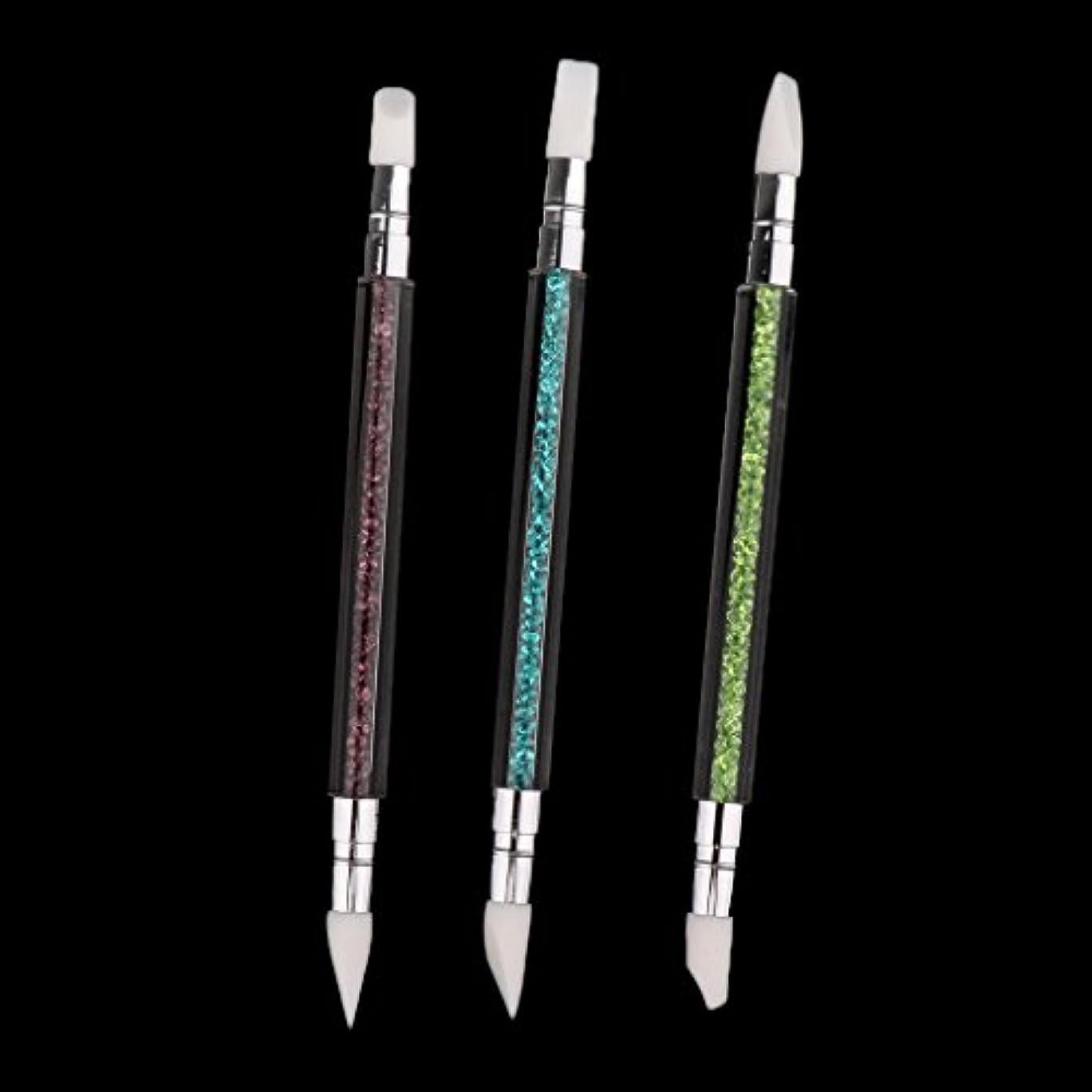 コスト効果的慢なDYNWAVE 3本セット ネイルアート ブラシ 爪用ペン ドットツール クラフト 2way 爪絵画ツール シリコン - 3本セット
