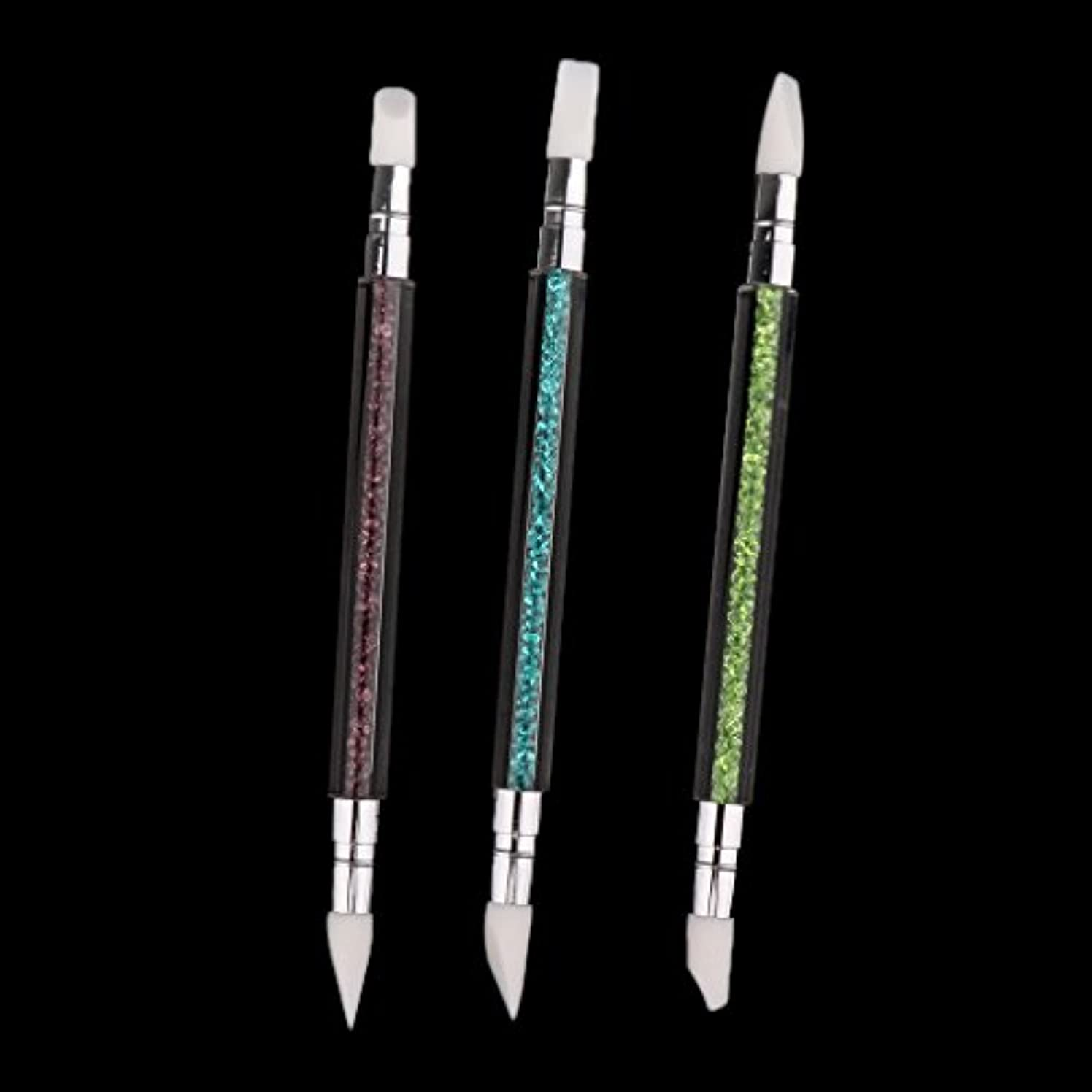 モード殺人二次DYNWAVE 3本セット ネイルアート ブラシ 爪用ペン ドットツール クラフト 2way 爪絵画ツール シリコン - 3本セット